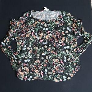Wildflower print long sleeve ruffle shoulder tee